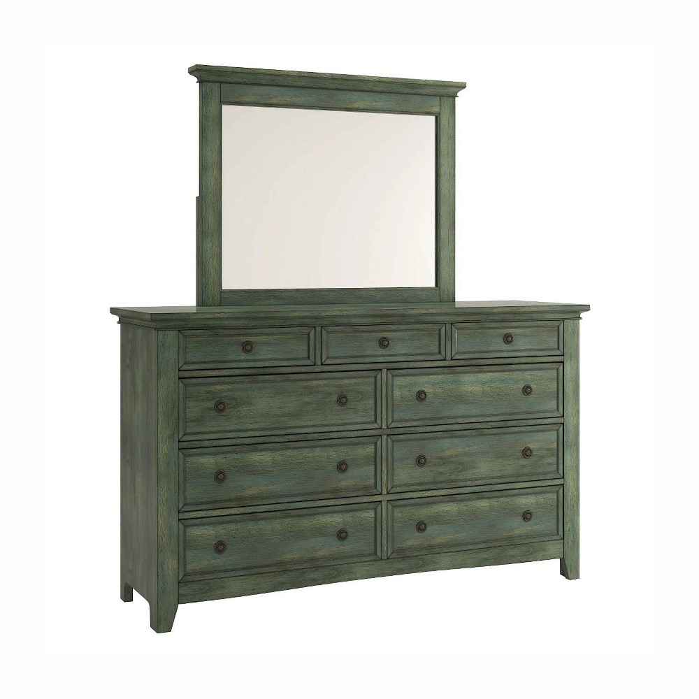 Martha 9Drawer Modular Storage Dresser and Mirror Deep Aqua (Blue) - Inspire Q