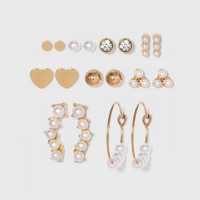 Heart and Simulated Pearl Multi Earring Set 9pc - Wild Fable™ Gold