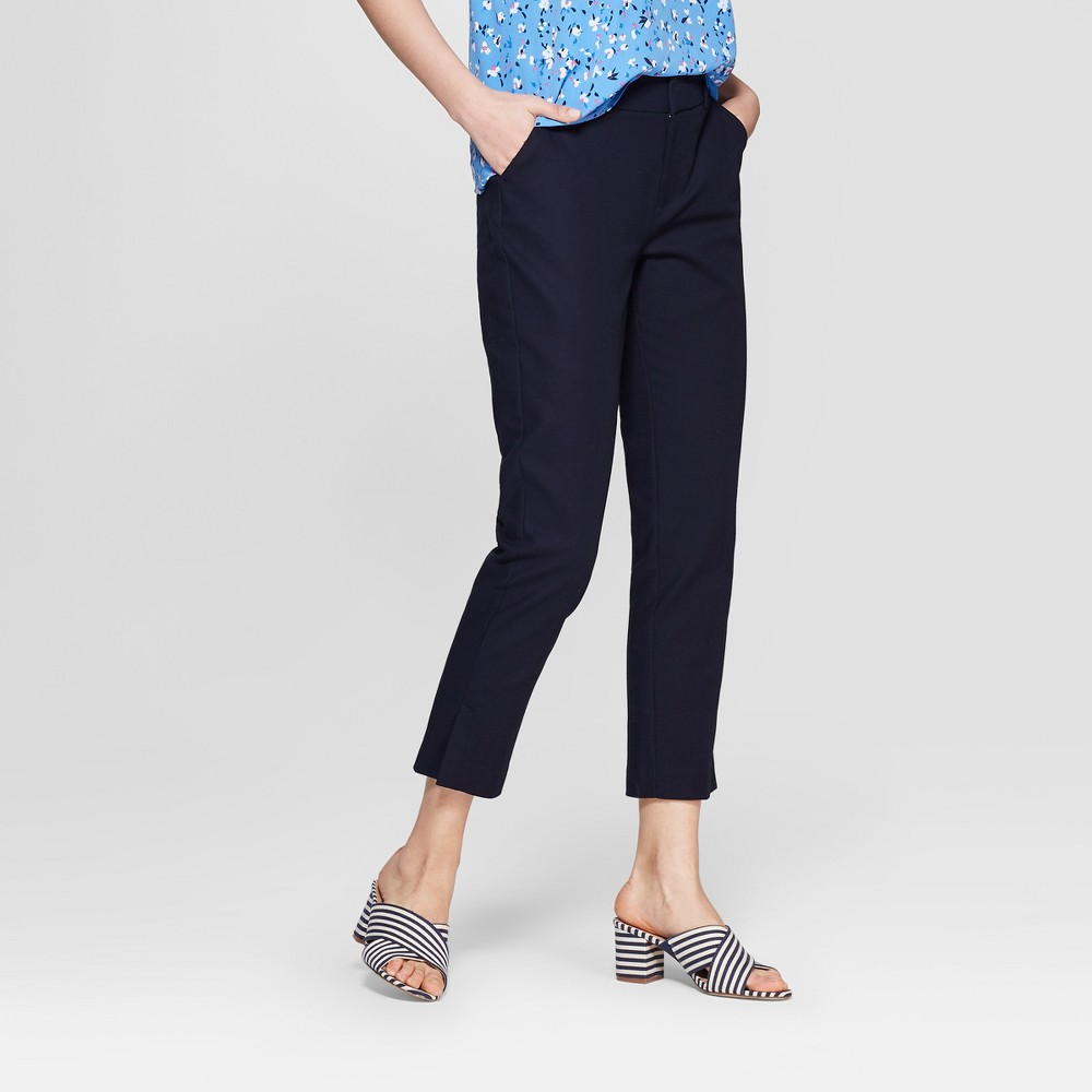 Women's Straight Leg Slim Ankle Pants - A New Day Blue 0