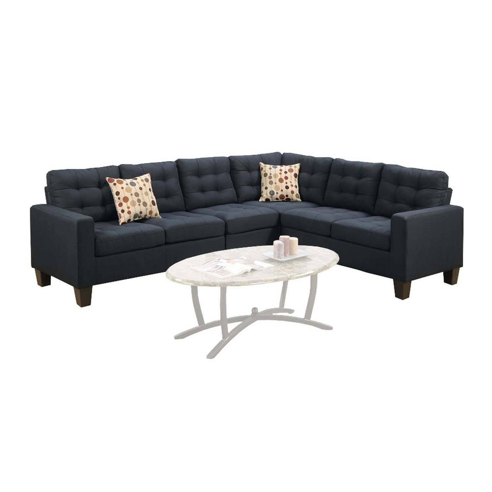 Image of 4pc Polyfiber Fabric Sectional With 2 Pillows Black - Benzara