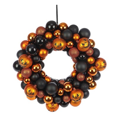 Shatterproof Pumpkin Halloween Wreath Orange/Black - Hyde & EEK! Boutique™