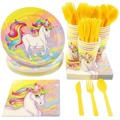 Juvale 144 Piece Unicorn Party Supplies (Serves 24 Guests) Plates, Napkins, Cups, Forks, Spoons and Knives