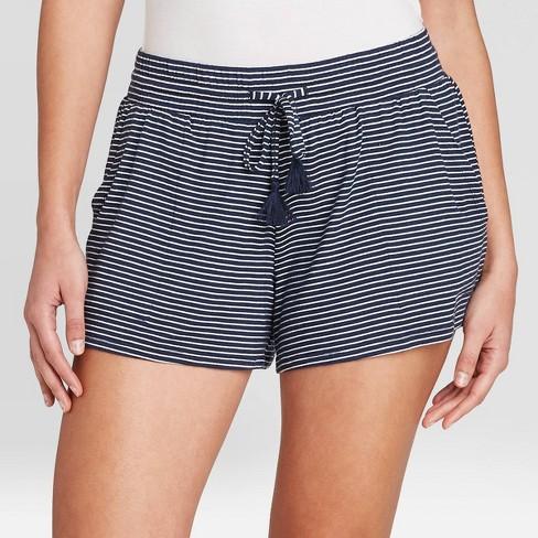 Women's Striped Beautifully Soft Pajama Shorts - Stars Above™ Navy - image 1 of 2