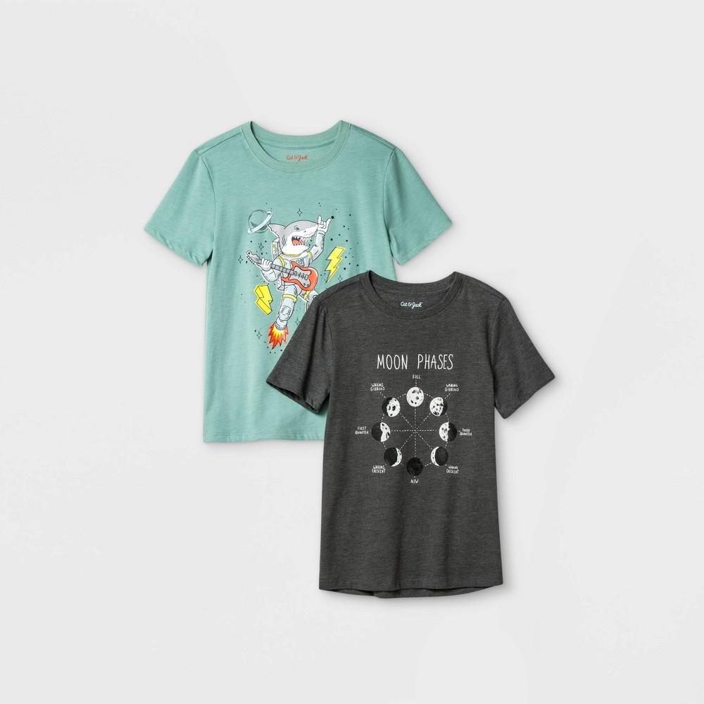Boys 39 2pk Graphic Short Sleeve T Shirt Cat 38 Jack 8482 Gray Green Xxl