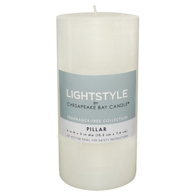 Fragrance Free Pillar Candle - White - 3 x6  - Chesapeake Bay Candle