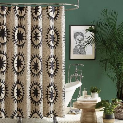 Soleil Shower Curtain Black/Ivory - Jungalow by Justina Blakeney