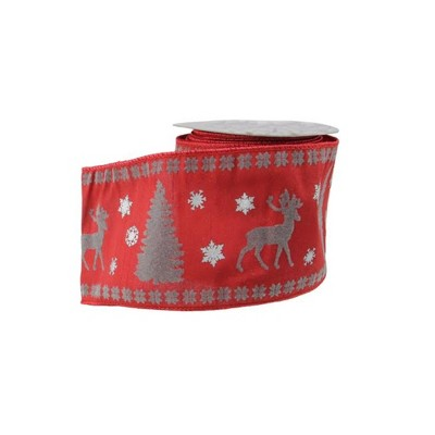 """Northlight Red and Gray Reindeer Christmas Craft Ribbon 4"""" x 10 Yards"""