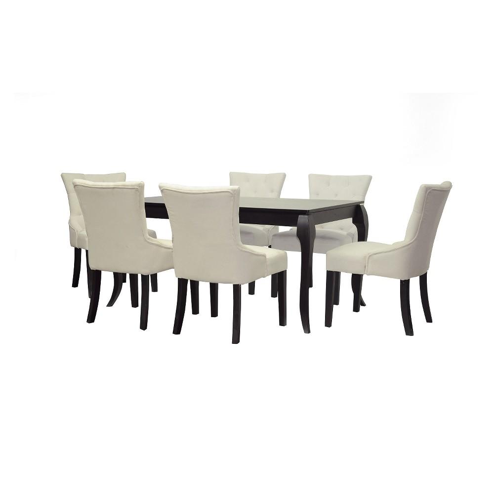 Epperton Wood 7-Piece Modern Dining Set - Black/Beige - Baxton Studio, Buff Beige