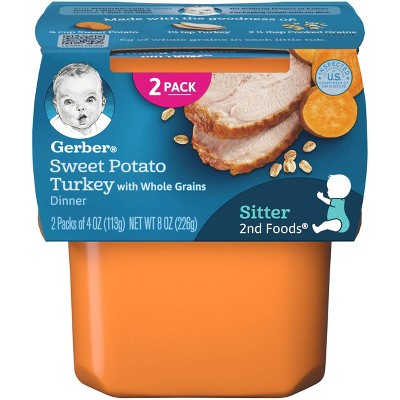 Gerber Sitter 2nd Foods Sweet Potato & Turkey with Whole Grains Baby Meals - 2ct/4oz Each