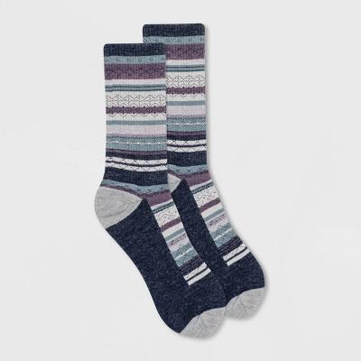 Alaska Knits Women's Wool Blend Fair Isle Striped Crew Boot Socks - 4-10