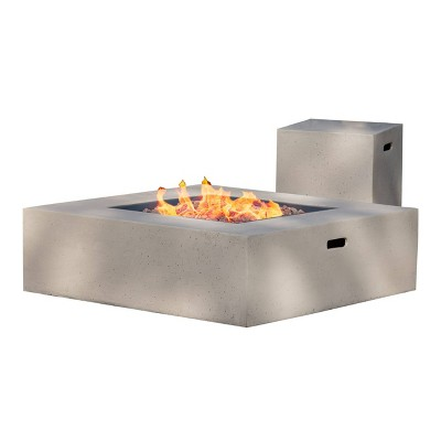 Aidan 40  Magnesium Oxide Gas Fire Pit Table With Tank Holder Square - Light Gray - Christopher Knight Home