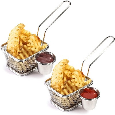 Juvale 2 Pack Stainless Steel Mini Chip Fryer Basket with Sauce Cup for Fries Serving