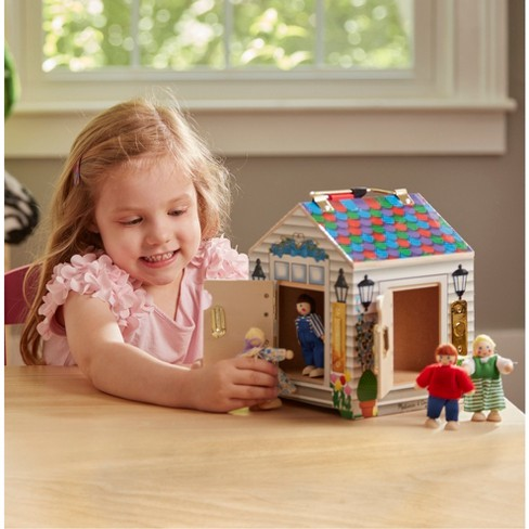 Melissa & Doug® Take-Along Wooden Doorbell Dollhouse - Doorbell ...