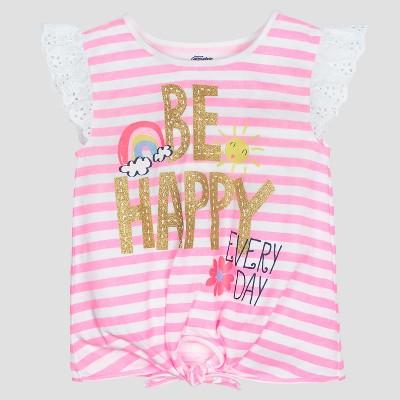 Gerber® Graduates® Baby Girls' Cap Sleeve Be Happy Stripe Top - Pink 24M