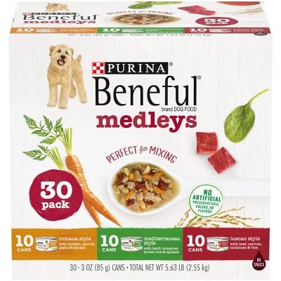 Purina Beneful Medleys Romana, Mediterranean & Tuscan Style Wet Dog Food - 3oz/30ct Variety Pack