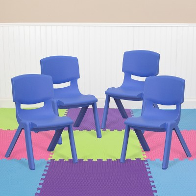 "Flash Furniture 4 Pack Plastic Stackable School Chairs with 10.5"" Seat Height"