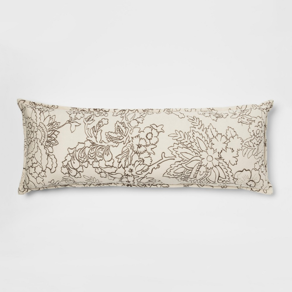 Floral Embroidered Flannel Oversized Lumbar Pillow Cream - Threshold