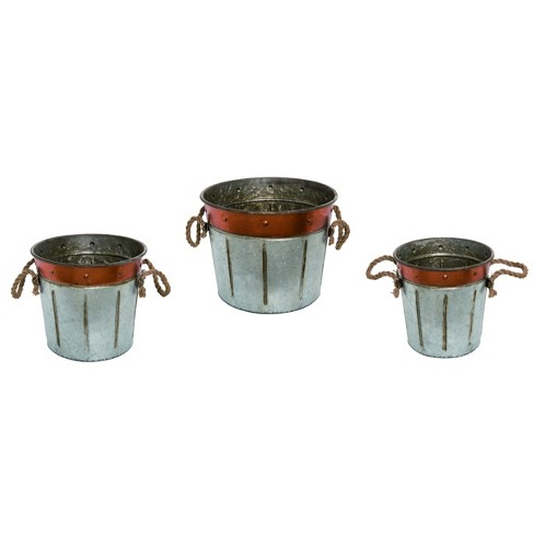 Transpac Metal 15 in. Silver Fall/Harvest Galvanized Bucket - image 1 of 1