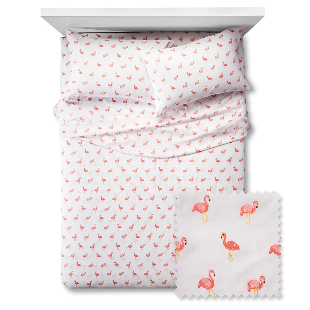 4pc Full Flamingos Sheet Set White - Pillowfort, Pink Orange White