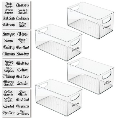 mDesign Stackable Plastic Bathroom Organizer Box, 4 Pack + 36 Labels - Clear