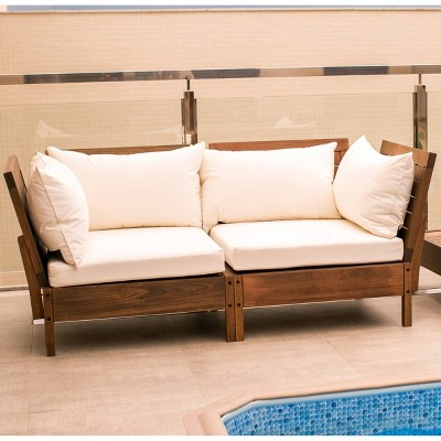 2pc Grass Eucalyptus Corner Chair with Cushions Brown - Alaterre Furniture