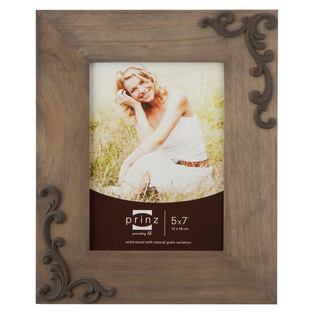 Lillie-Scrolls Wood Frame - Taupe (Brown) (5x7)