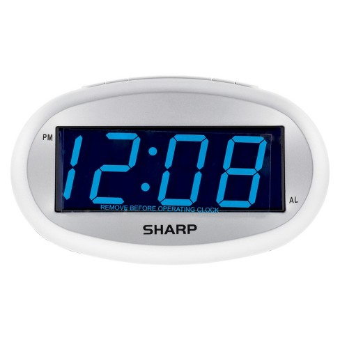 LED Alarm Clock with Dimmer Silver - Sharp®