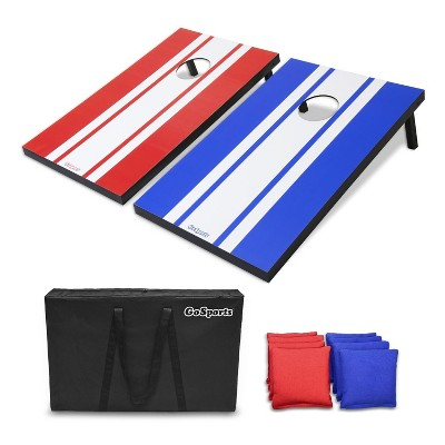 GoSports CH-01-MDF Tailgate Size 3' x 2' Cornhole Game Set with 8 Bean Bags, Carry Case, and Rules, Classic Edition, Red and Blue