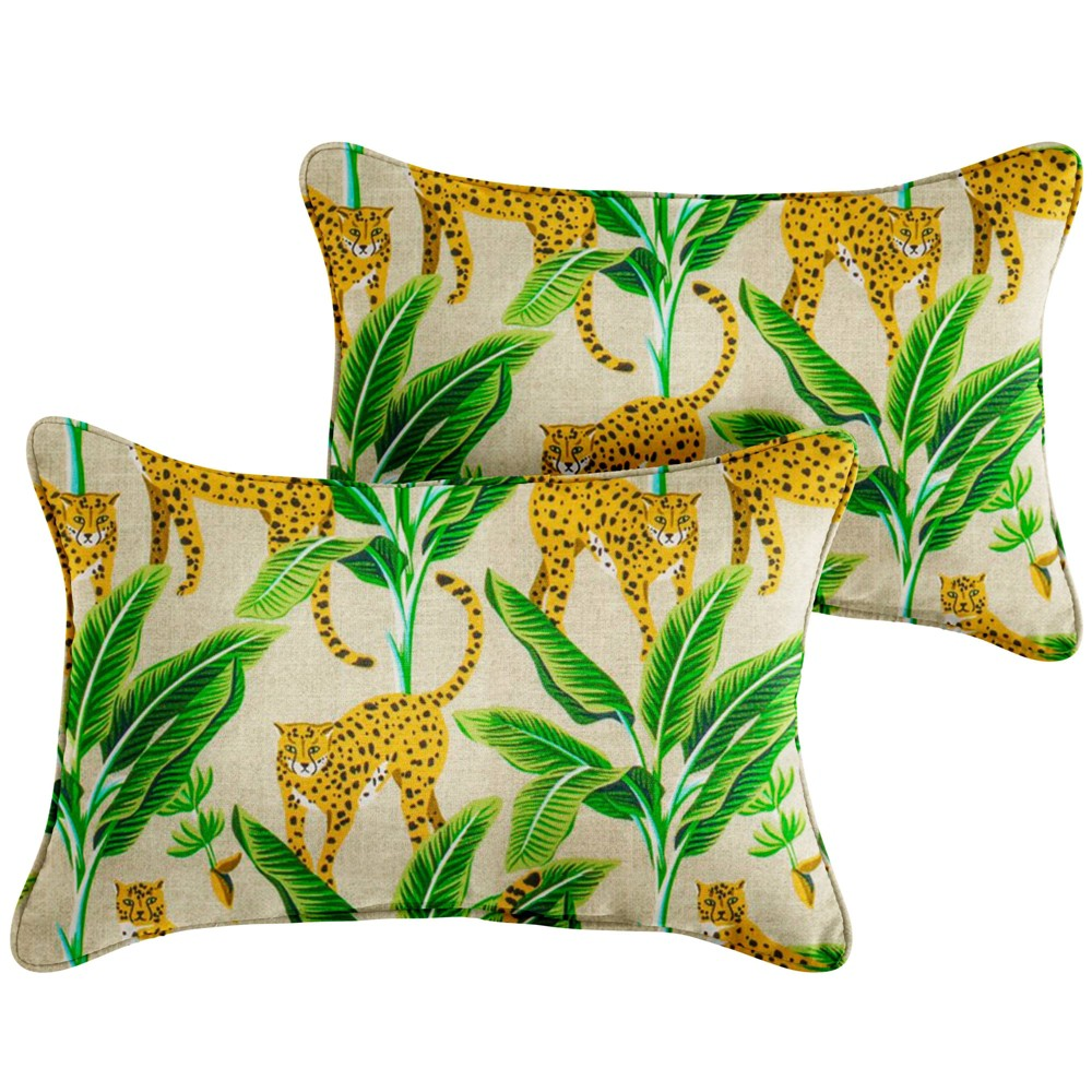 "Image of ""13"""" 2pk Corded Outdoor Throw Pillows Yellow/Green"""