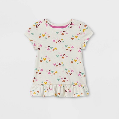 Toddler Girls' Heart Peplum Short Sleeve T-Shirt - Cat & Jack™ Cream