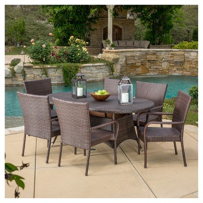 Blakely 7pc Wicker Dining Set   Multibrown   Christopher Knight Home :  Target