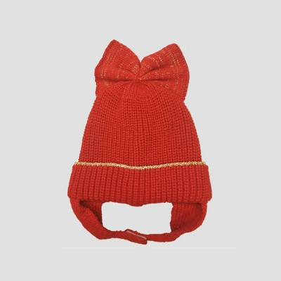 Baby Girls' Knitted Hat with Bow - Cat & Jack™ Red Newborn