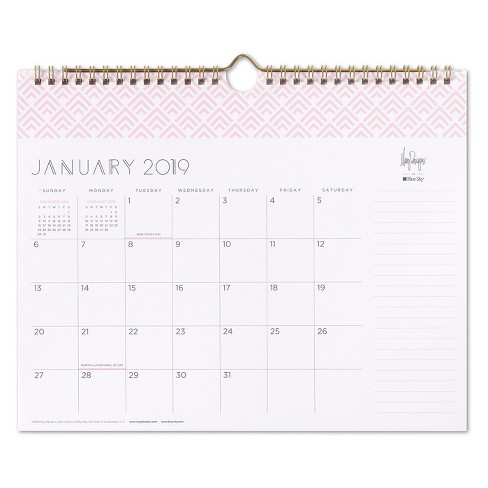Wall Calendar 2019 2019 Wall Calendar Apex Blush Pink   May Designs : Target