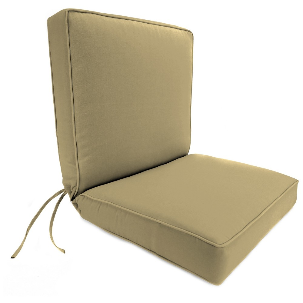 Outdoor Boxed Edge Dining Chair Cushion In Sunbrella Canvas Heather Beige - Jordan Manufacturing, Warm Beige
