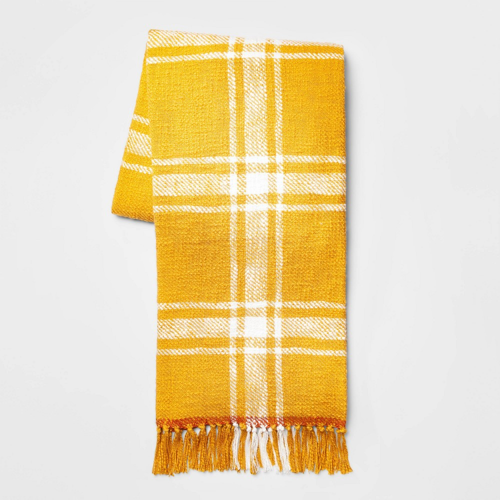 "Image of ""50""""x60"""" Hand Woven Cotton Plaid Throw Blanket Yellow - Threshold"""