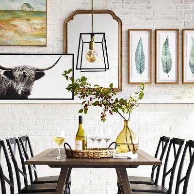 24 25 X48 Black White Highland Cow Framed Wall Canvas Threshold