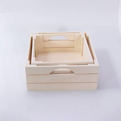 4ct Nested Wood Crates - Bullseye's Playground™