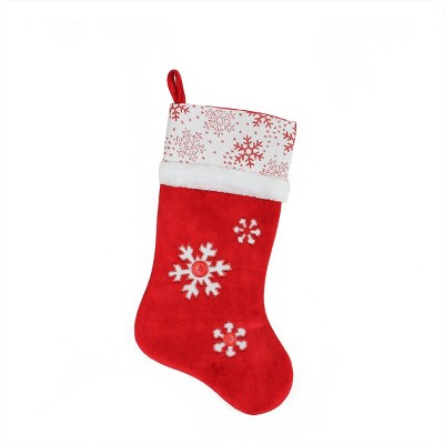 """Northlight 20.5"""" Red and White Button Snowflake Christmas Stocking"""