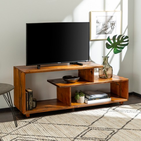 60 Rustic Modern Solid Wood Tv Stand Console Entertainment Center Amber Saracina Home Target