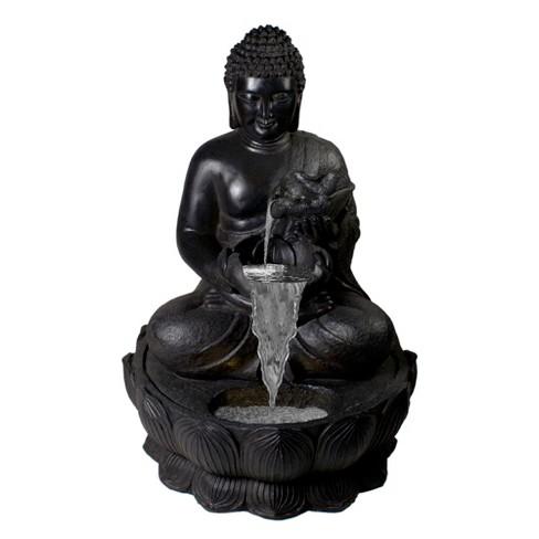 Northlight 31 5 Black Buddha In A Flower Outdoor Garden Water Fountain Target