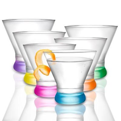 JoyJolt Hue Colored Stemless Martini Glasses - Set of 6 Colored Stemless Cocktail Glassware  - 7 oz