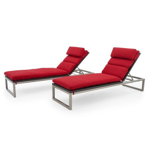 Milo Espresso Lounges With Cushions Red - RST Brands - image 1 of 4