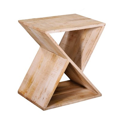 Handcrafted Mango Wood Z Shaped End Table with Open Bottom Shelf Brown - The Urban Port