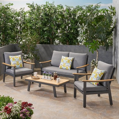 Sinclair 4pc Aluminum and Faux Wood Chat Set Gray - Christopher Knight Home