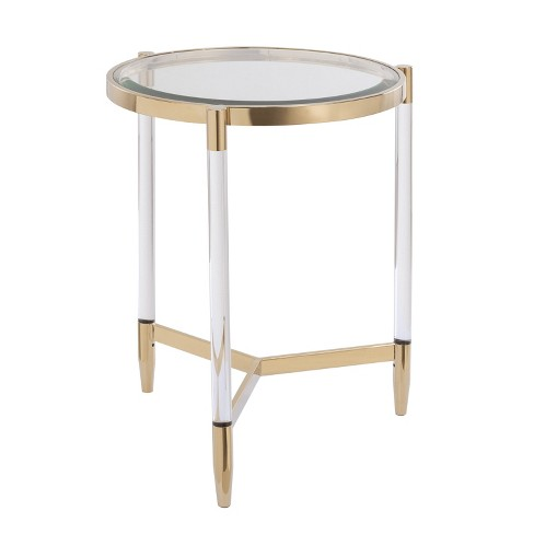 Colter Acrylic End Table Gold - Aiden Lane - image 1 of 4