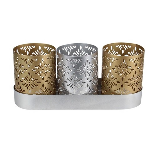 """Northlight 9"""" Metallic Silver and Gold Trio Votive Floral Candle Holders with Tray - image 1 of 4"""