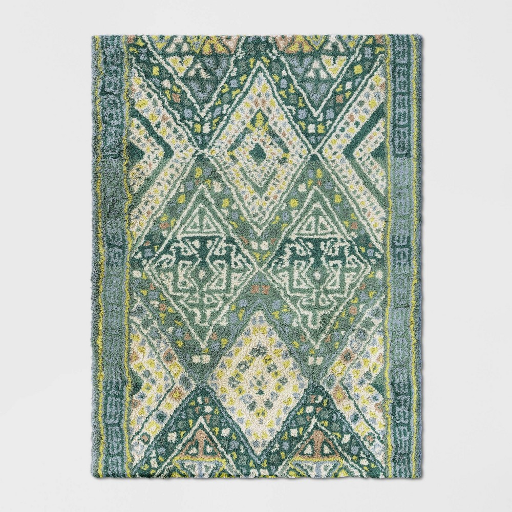 5'X7' Coreopsis Diamond Tufted Area Rug Turquoise - Opalhouse was $199.99 now $99.99 (50.0% off)