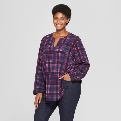 cd7dcbbdc9a Women's Plus Size Plaid Long Sleeve Woven Popover - Ava & Viv™ Navy ...