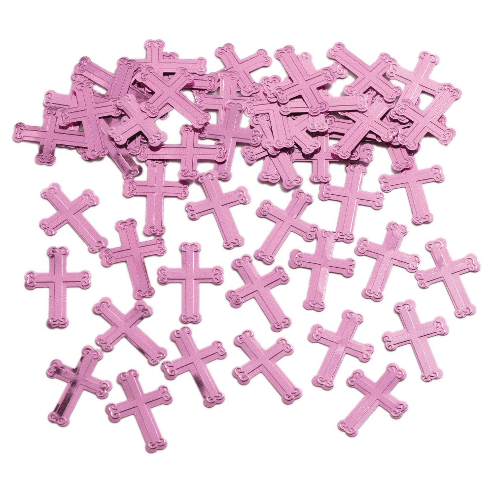 Embossed Pink Cross Confetti