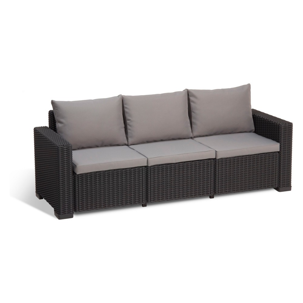California Outdoor Resin Patio 3-Seat Sofa with Cushions Graphite (Grey) - Keter
